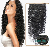 "Wholesale Blonde Clip Hair Extensions - ELIBESSWholesale -14""- 26""8pcs indian remy Hair deep curly wave clip-in hair remy hair extensions , 1# 1B# 2# 4# 6# 27# 99J# 613# ,120g set,"