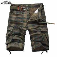 Wholesale Yellow Cargo Shorts For Men - Wholesale-2016 Summer New Cotton Male Plaid Casual Shorts Brand Men Multi-pocket Outdoor Cargo Shorts Beach Shorts For Men MS04