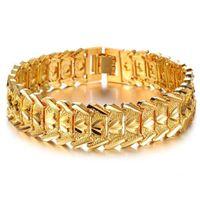 ingrosso braccialetti braccialetti chunky-ZHF GIOIELLI 2016 Vendita calda di lusso 18K uomini d'oro giallo Bracciale a catena largo polsino Chunky Link Chain accessorio attraente