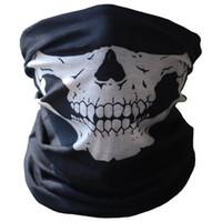 наполовину лицо велосипед черепа маски оптовых-Оптовая торговля-Спорт на открытом воздухе горный велосипед лыжный череп половина Маска призрак шарф Multi использование шеи скелет шарф езда маски