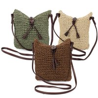 Wholesale Woven Phone Pouch - Wholesale-Hot Newest Summer Fresh Women Woven Shoulder Bags Straw Knitting Weave Crossbody Burlap Jute Pouches Beach Small Travel Handbag