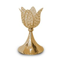 Wholesale Crystal Activity - Classic gold  silver finish lotus wedding candle holder event or party candle stand home decor metal candlestick 1 lot = 10 pcs