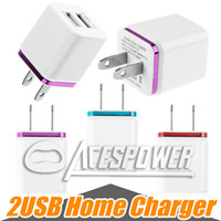 Wholesale Tablet Docks - Metal Dual USB Wall Charger US EU Plug 2 Ports Home Charging AC Power Adapter For Samsung Galaxy S8 LG Tablet