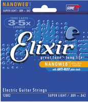 Wholesale Guitar Lit - Wholesale 1 Sets Elixir 12000 12002 12050 12052 12077 12102 Nanoweb Ultra Thin Coating Electric Guitar Strings Super Light Free Shipping