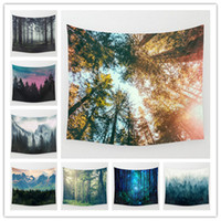 Wholesale Set Beach Towels - Bohemian Landscape Beach Towel 130*148cm 9 color in stock Autumn blanket Soft Mat Outdoor Keep warm Shawl Wall Tapestry 2017 Christmas