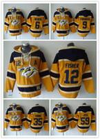 Wholesale Hockey Hooded - Nashville Predators Hockey Men Jerseys 6 Shea Weber 9 filip forsberg 12 mike fisher 35 rinne Hockey Hoodie Hooded Sweatshirt Jackets Jersey