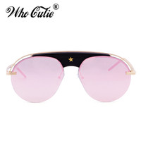 Wholesale Black Evolution - WHO CUTIE 2018 Evolution Aviator Sunglasses Women Men Luxury Brand Designer Sun Glasses Star Gold Frame Rose Pink Shades OM449