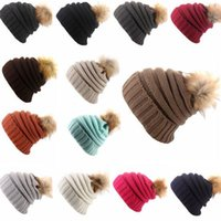 Wholesale Golf Accessory Wholesale - 15 Colors Pom Beanies Hats New Winter Cap for Women Warm Knitted Fashion Hat Headgear Fashion Accessories CCA8015 20pcs