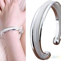 Wholesale Bevel Bracelet - Wholesale-Fashion Classical Silver Jewelry Bevel Bangle Bracelets & bangles Gift Bracelet 02XJ
