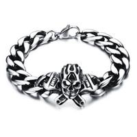 eslabones del cráneo de la cadena al por mayor-Pulsera de esqueleto oscilante para hombre Pulsera de calavera retro de acero inoxidable personalizada con cadena de eslabones