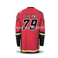 Wholesale Hockey Jerseys 79 - FREESHIPPING FLAMES #79 FERLAND HOME RED STITCHED ICE HOCKEY JERSEYS SZ 48 50 52 54 M L XL XXL