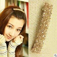 Wholesale Hair Accessorie Flowers - Fashion Four rows of Crystal hairpin headdress Korean head flowers top folder Barrette bow Sweet Adult Hair Accessorie H198