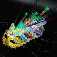 Wholesale Venice Masks Blue - Princess masquerade plumed mask female luminous fox butterfly feather LED lighted optical fiber MASK Venice party mask half face