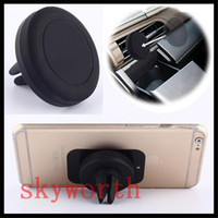 Wholesale Car Air Vent Iphone 4s - Universal holder Magnetic 360 rotating Air Vent Mount for Samsung for iPhone 4 4S 5 5S 6 Plus GPS PDA Car mobile holder
