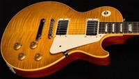 ingrosso tagliare la chitarra gialla-Chitarra elettrica standard della chitarra della fabbrica della chitarra della parte superiore di acero della fiamma dell'acetato della fiamma dell'acetato di nuovo arrivo standard nero di Slash