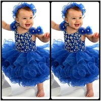 Wholesale Cute Little Girl Baby Images - 2017 New Cute Royal Blue Spaghetti Straps V Neck Beaded Crystal Little Flower Girl Dress Girls Pageant Baby Infant Toddler Dress
