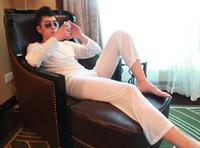брюки чистой йоги оптовых-Сексуальные мужчины пижамы набор йога носить пижамы пижамы пижамы видеть сквозь свободные Сетки Sheer брюки эротическое белье Fx1041