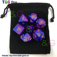 Wholesale Color Dices - New 7pcs Mix color Magic Purple Digital Dice Set with Nebula effect rpg Dice brinquedos dados juguetes dungeons and dragons