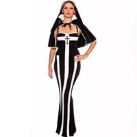 Wholesale Dress Halloween Adult Sexy - Wholesale-Women's Sexy Hot Sinfully Bad Habit Nun Costume Adult Long Bodycon Sister Dress Halloween Party Cosplay Outfit Set
