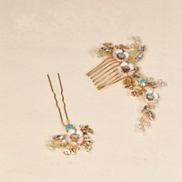 Wholesale headpiece jewelry sets resale online - beijia Vintage Green Crystal Hair Pins Comb Set Gold Bridal Hair Jewelry Wedding Hair Combs Accessories Handmade Headpiece