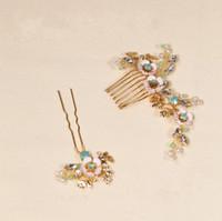 peines de cristal dorado al por mayor-beijia Vintage Verde Crystal Hair Pins Peine Conjunto Joyas de Pelo Nupcial de La Boda Peinetas de Pelo Accesorios Casco Hecho A Mano