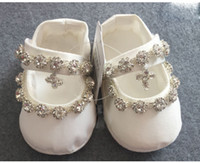 Wholesale Ivory Christening Shoes - Bling Bling New Arrival Baptism Shoes For Baby Rhinestone Kids Formal Wear Ivory Crystal Girls' Shoes In Stock