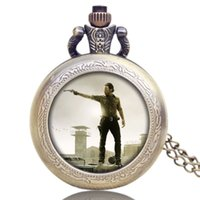 Wholesale American Pocket Watch - Wholesale-Hot American Drama Walking Dead Hero Rick Design Pendant Pocket Watch With Chain Necklace