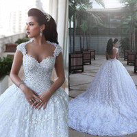 Wholesale ivory lace open back resale online - Vestidos De Noiva Luxury Arabic Wedding Dresses Said Mahamaid Capped Sleeves Open Back Sequins Floral Cathedral Bridal Gowns