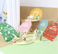 Wholesale Noel Christmas Ornament - 500pcs  Lot Christmas Cards Greeting Card 3d Card Postcard Gift Xmas Noel Christmas Decorations For Home Ornaments New Year