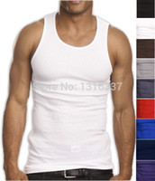 Wholesale Ribbed Cotton Tank - Wholesale-2016 Top Quality 100% Premium Cotton Mens A-Shirt Wife Beater Ribbed Tank Top Muscle free shipping