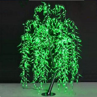 Wholesale Lighted Willow - 2017 NEW Free ship LED Willow Tree Light LED 1152pcs LEDs 2m 6.6FT Green Color Rainproof Indoor or Outdoor Use MYY