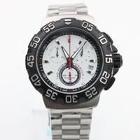 белые часы для мужчин оптовых-Горячие Мужские спортивные часы 40 мм размер белое лицо из нержавеющей стали ремешок часы