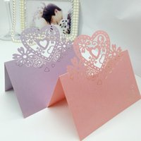 Wholesale Violet Name - 200pcs Laser Cut Hollow Heart Flower Paper Table Card Number Name Place Card For Party Wedding Decorate Customization