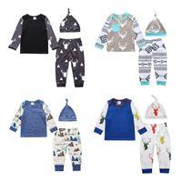 Wholesale Stripe Shirt Girl Baby - INS 2017 Autumn Baby 3PCS Set Deer Stripe Printed Hat+Long Sleeve T-shirt+Pants Cotton Baby Boys Girls Children Kids Clothing Sets 123