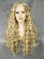 Wholesale Wigs 27 613 - Iwona Hair Curly Long Two Tone Light Blonde Honey Blonde Mix Wig 18#613 27 Half Hand Tied Heat Resistant Synthetic Lace Front Wig