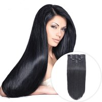 Wholesale thick human hair clips for sale - Group buy Jet Black clip in hair extensions human hair straight g brazilian virgin thick clip in hair extension