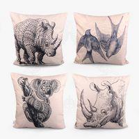 Wholesale Animal Cushion Covers - Sofa cushion lumbar pillows animal rhinoceros Swallow thick rough cotton Pillow Case car pillow cover