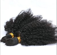 Wholesale curly braiding hair online - brazilian human virgin remy kinky curly hair bulk braiding hair extensions unprocessed curly natural black color human extensions