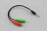 Wholesale Extension Y - wholesale 50pcs lot Male to 2 Female 3.5mm AUX Extension Headphone Mic Audio Splitter Cable Y Splitter Adapter for HTC One for iPod MP3