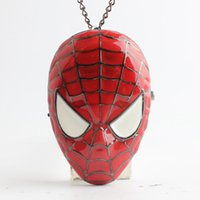 Wholesale Clock Locket Necklaces - Spiderman Spider-Man Mask Pendants pocket watch Necklaces flip locket quartz watch clocks for women men children Christmas gift 230208