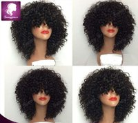 Wholesale Thick Black Wig - 150% density afro kinky curly full lace wigs with thick bangs for black woman peruvian human hair lace wig with nature hairline