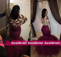 Wholesale Cheap Mermaid Skirts - 2k16 New Fashion Burgundy Prom Dresses for Sweet 16 Girls Sale Cheap See Through Sheer Bodice Fit and Flare Skirt Long Evening Gowns Wear