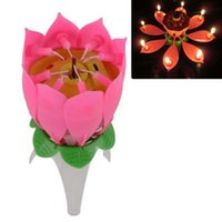 Wholesale Candle Surprise - Musical Lotus Flower Flame Happy Birthday Cake Party Gift Lights Rotation Decoration Candles Lamp Surprise