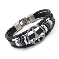 Wholesale Beaded Flags - Fashion Metal Peace Sign Leather Bracelets Handmade Multilayer Beaded Charm Bracelets Wristband High Quality Jewelry For Men and Women Gifts