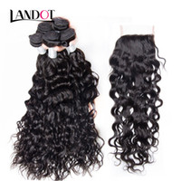 Wholesale curly ombre hair brown blonde bundles resale online - 8A Lace Closure With Bundles Brazilian Water Wave Curly Virgin Human Hair Weaves Peruvian Indian Malaysian Cambodian Hair Natural Color