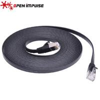 интернет черный оптовых-Черный цвет экранированный кабель Ethernet 5 м CAT7 RJ-45 ультратонкий плоский Ethernet сетевой кабель интернет Lan высокое качество