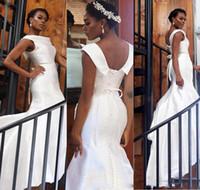 ingrosso coperture formali-Eleganti abiti da ballo per ragazza nera con sirena bianca Abiti da cocktail da cerimonia convenzionali con scollo all'americana in raso ricamato sul retro