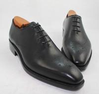 schwarze flügelspitzenschuhe großhandel-Herren Businessschuhe Halbschuhe Custom Handmade Schuhe Echtes Kalbsleder Wingtip Brogue Schuhe Farbe Dark Black HD-238