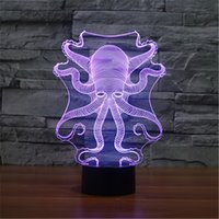 New USB Acrylic The Seven Color Octopus Nightlight Chambre Bureau LED Lampe de table Enfant Ocean World Cadeau de Noël-158