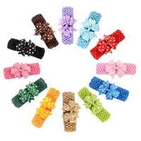 Wholesale Crochet Pink Headband For Babies - 24 Pcs lot Fashion Handmade Cute Dots Pinwheel Bow Headband for Baby Girls Boutique Crochet Headband Children Hair Accessories